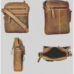 Leather Cross-Body Sling Bag for Men/Boys – (L x B x H: 8×9 (Brown)