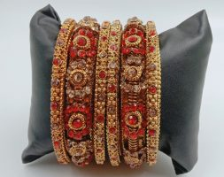 Traditional & Attractive Gold Plated Red Stone Bangles Set for Girls and Women