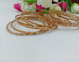 Gold Plated Traditional Designer Plain with Design Bangles Sets for Women & Girls 190