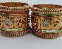 Traditional Bangles Gold Plated with Diamond Bangles Set for Women