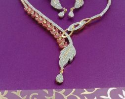 American Diamond Cz Gold Plated Necklace Set With Earring For Girls/Women