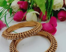 Traditional Gold Plated Gold Stone Bangles Set for Girls and Women