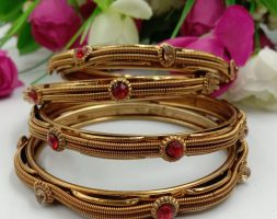 Traditional Gold Plated Golden Stone Bangles Set for Girls and Women