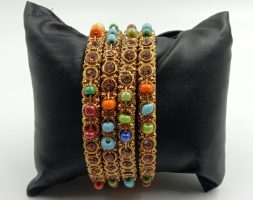 Shiny Glossy Metal Bangles with Colourful Pearl Set for Women & Girls