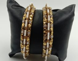 Shiny Glossy Metal Bangles with White Pearl &Stone Set for Women & Girls