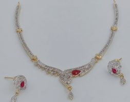 White and Pink American Diamond Collar Necklace Set with Designer Drop Earring for Women and Girls