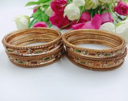 Shiny Glossy Metal Bangles with White & Colourful Stone Set for Women & Girls