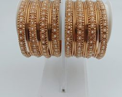 Traditional Gold Platedwith Pearl Stone Bangles Set for Girls and Women