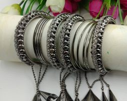 Silver Plated Latkan Bangle Set Studded with for Women