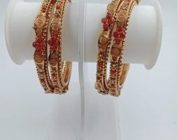 Traditional Gold Plated Red Stone Bangles Set for Girls and Women