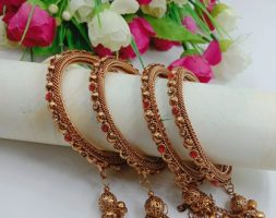 Gold Plated with Diamond Latkan Bangle Set Studded with for Women and Girls