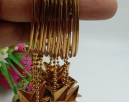 Shiny Glossy Plain Metal Golden Bangles with Latkan Set for Women & Girls