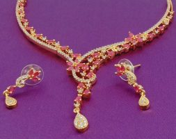 American Diamond Cz Gold-Plated Necklace Set For Women