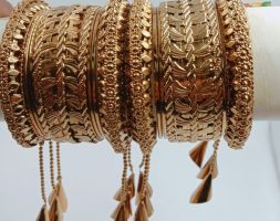 Gold(nical) Plated Latkan Bangle Set Studded with for Women