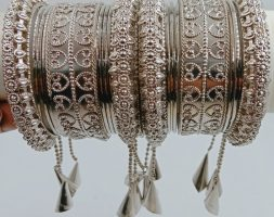 Silver (mehandi) Plated Latkan Bangle Set Studded with for Women