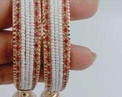 Stylish Designer White Pearl Bangle Set with Latkan(Ghumki) for Girls & Women