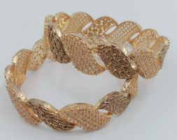 AD Studded Two Tone Plated American Diamond Bangles Set For Women