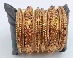Traditional Gold Plated Bracelet Bangles Set for Girls and Women