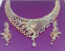 Golden Gold Plated Kundan Polki Jewellery/Necklace Set with Earring for Women