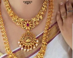 Gold Plated Kundan Faux Bead Bridal Necklace Jewellery Set for Women Girls