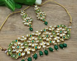 Fancy Traditional Choker Necklace Set Jewellery Set with Earrings for Girls Women