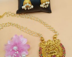 Traditional Temple Choker Necklace Earrings Jewellery Set