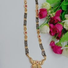 Golden Alloy Beautiful Mangalsutra with Australian Diamond Studded for Women