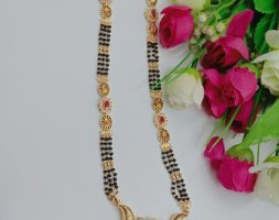 Golden Alloy Beautiful Mangalsutra with Australian Diamond Studded for Women