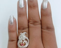 Silver Plated AD Diamond Ring for Women and Girls