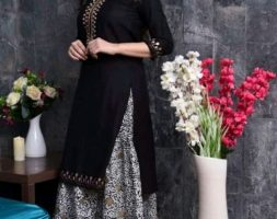 Black Gota Work designer kurta with Long skirt
